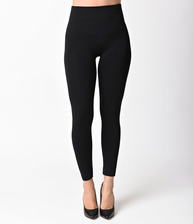 1950s Pin Up Style Black High Waist Cigarette Stretch Leggings
