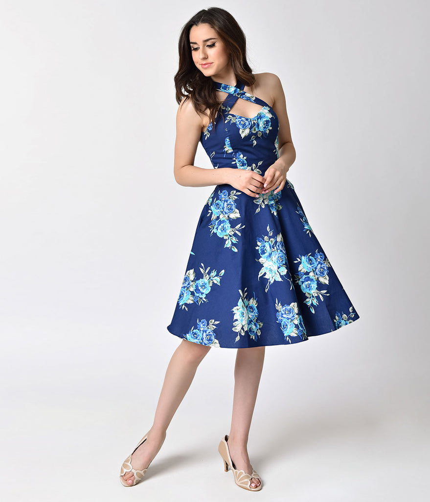 1950s Pin Up Style Navy Rose Floral Cross Neck A-line Flare Dress