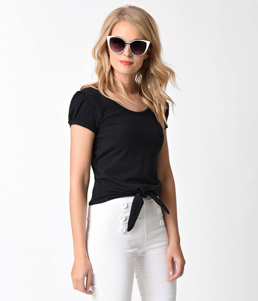 1950s Style Black Cotton Back Bow Cutout Short Sleeve Top
