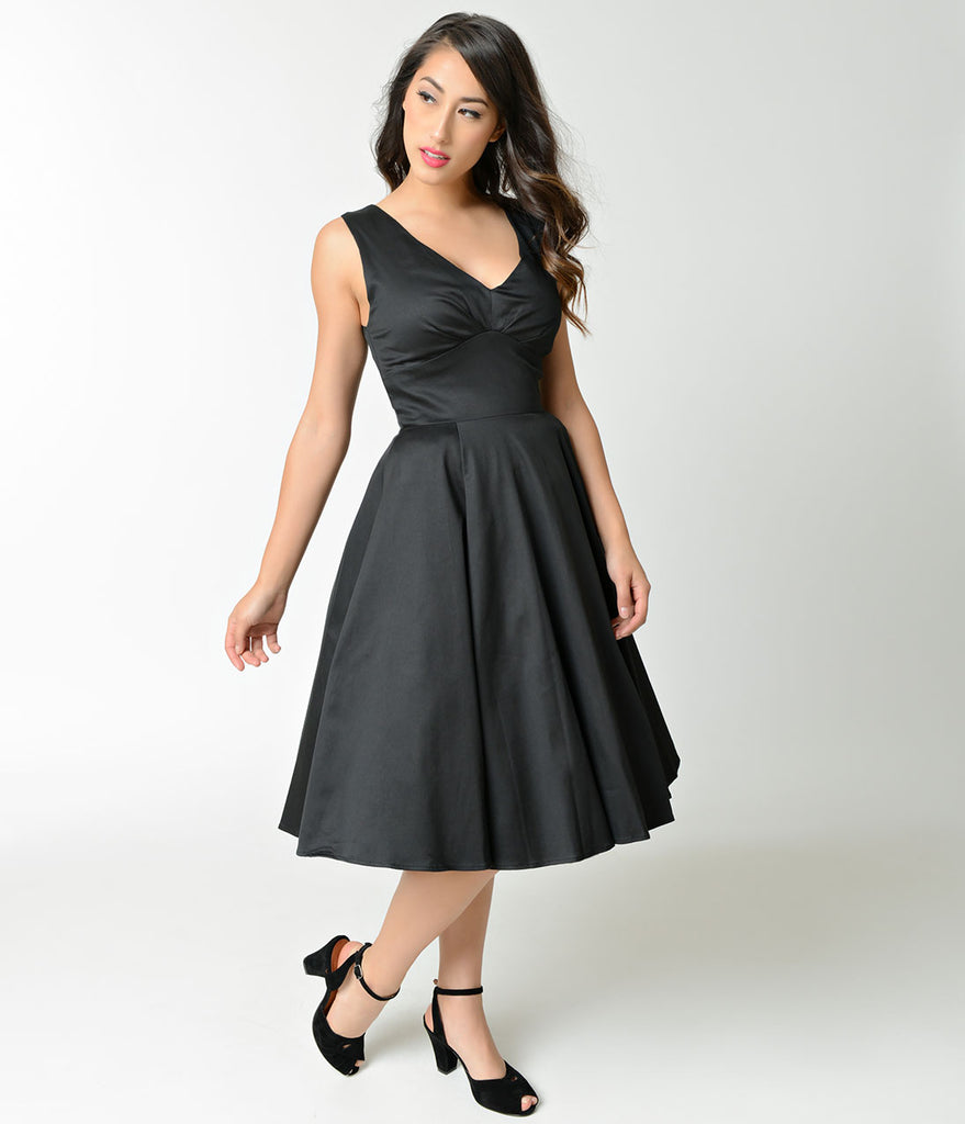 1950s Style Black Cotton Sleeveless Swing Dress