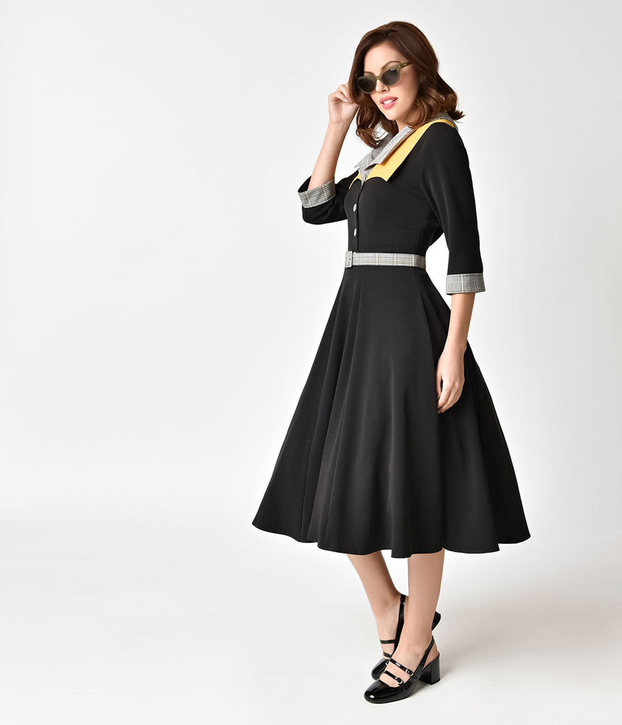 Miss Candy Floss 1950s Style Black & Plaid Trim Othelia Lou Swing Dress