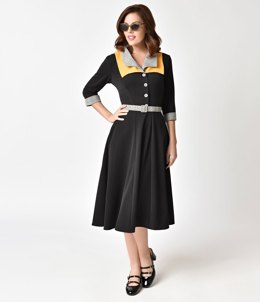 1950s Housewife Dress | 50s Day Dresses Miss Candy Floss 1950S Style Black  Plaid Trim Othelia Lou Swing Dress $88.00 AT vintagedancer.com