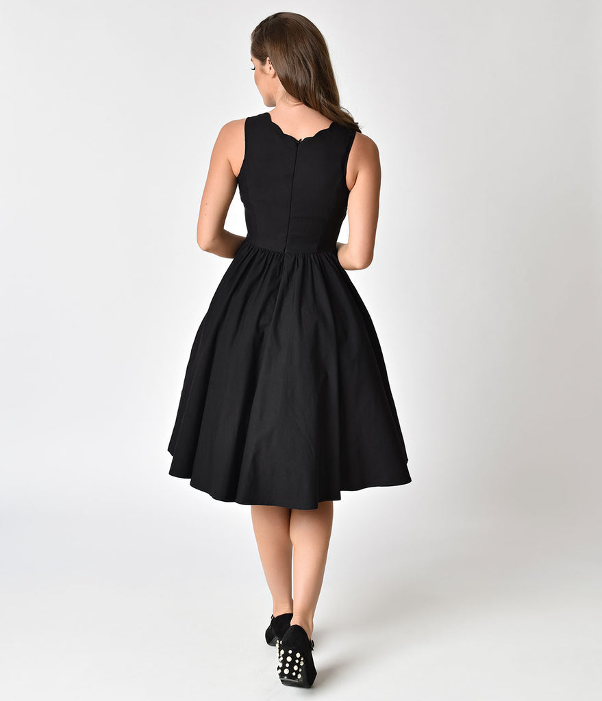 1950s Style Black Scalloped Neckline Cotton Swing Dress