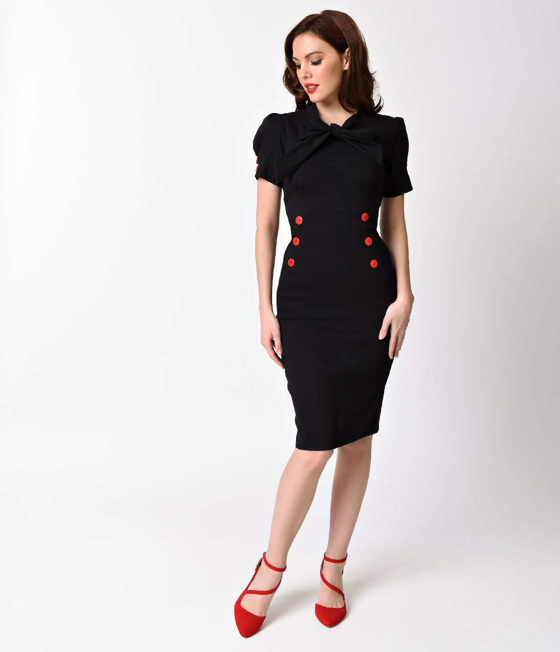 What Did Women Wear in the 1950s? 1950s Fashion Guide 1950S Style Black Stretch Short Puff Sleeve Collar Tie Wiggle Dress $62.00 AT vintagedancer.com