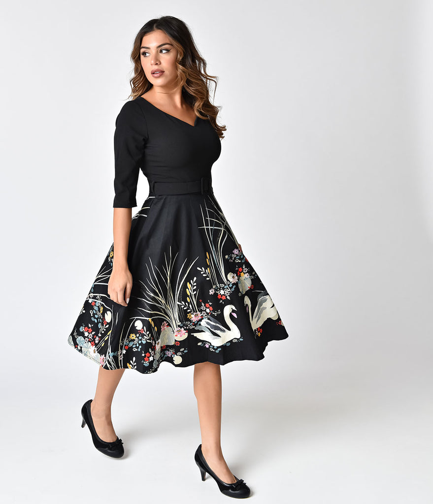 1950s Style Black Swan Scene Print Sleeved Swing Dress