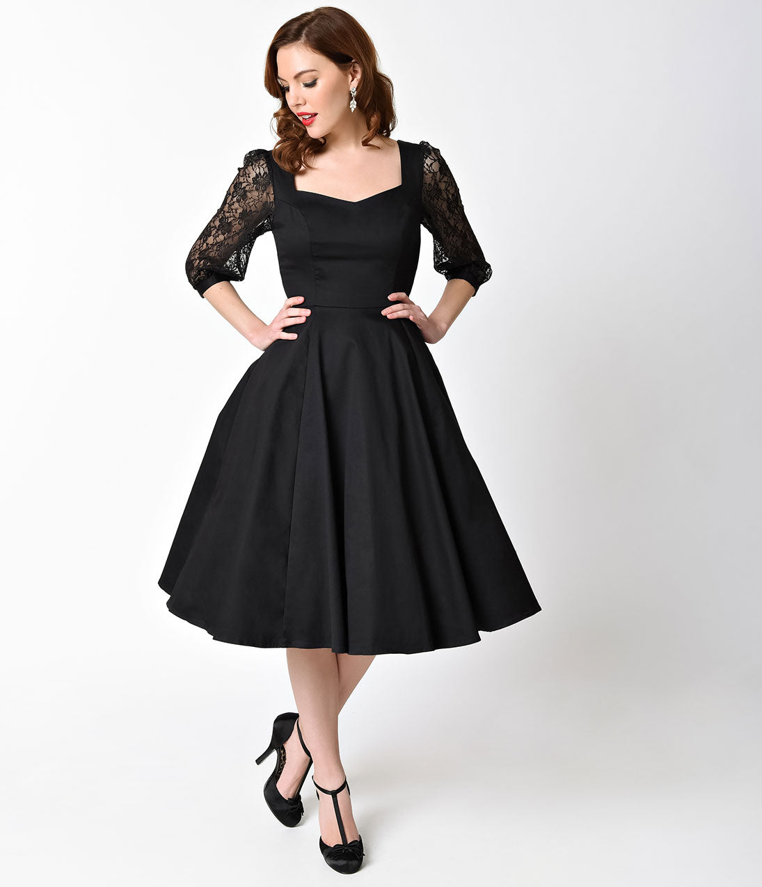 1950s Style Black Three-Quarter Sleeve Lace Cotton Adrienne Swing ...