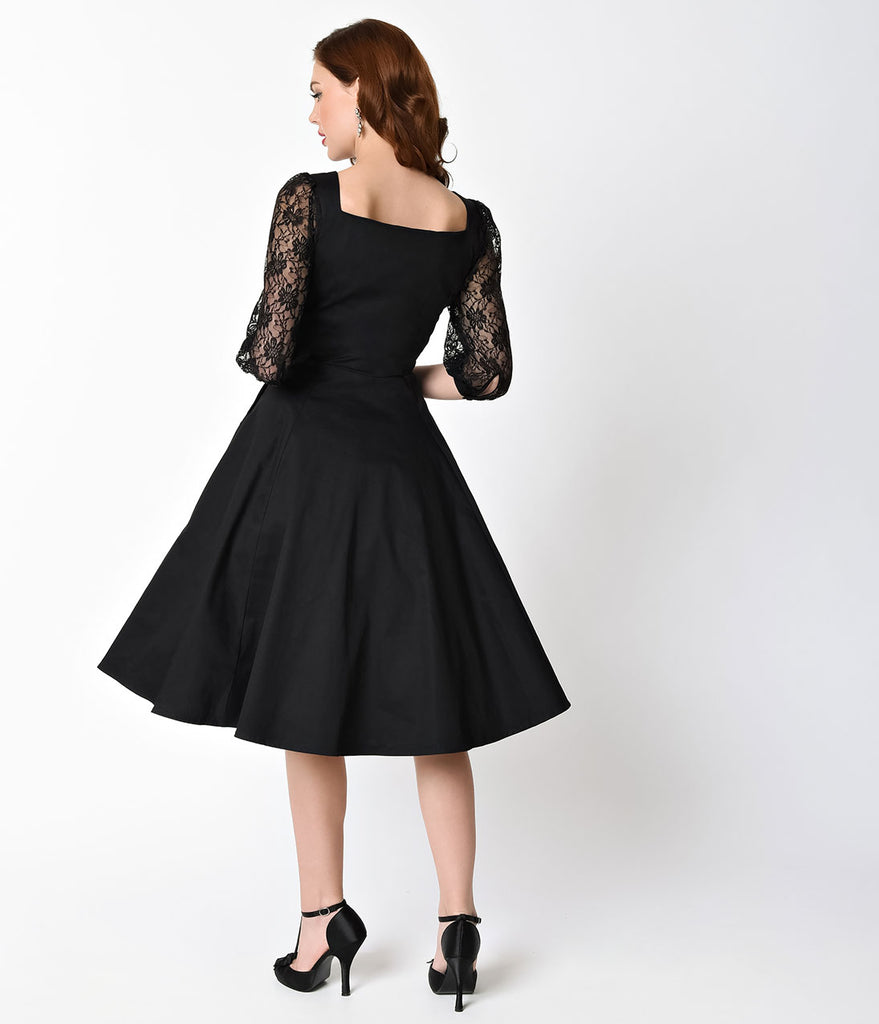 1950s Style Black Three-Quarter Sleeve Lace Cotton Adrienne Swing Dress
