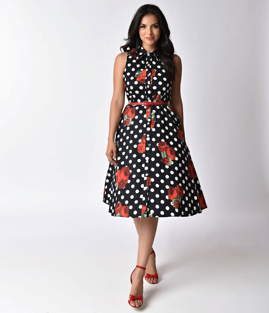 1950s Style Black & White Dot & Rose Button Up Swing Dress