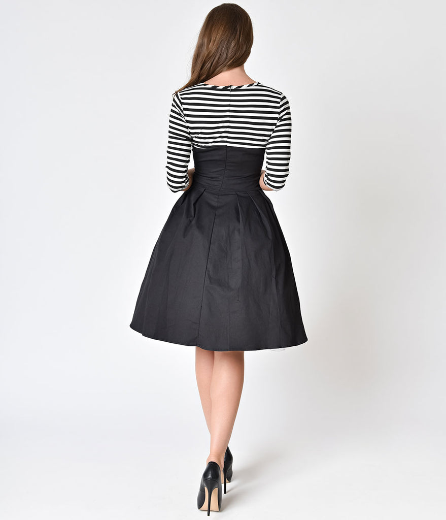 1950s Style Black & White Striped Sleeved Swing Dress