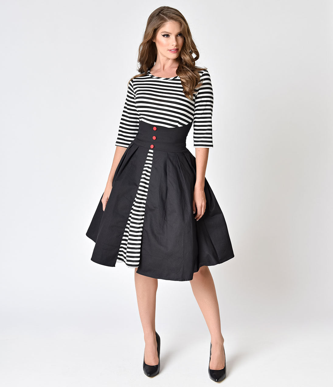 Pin Up Dresses | Pin Up Clothing 1950s Style Black  White Striped Sleeved Swing Dress $68.00 AT vintagedancer.com