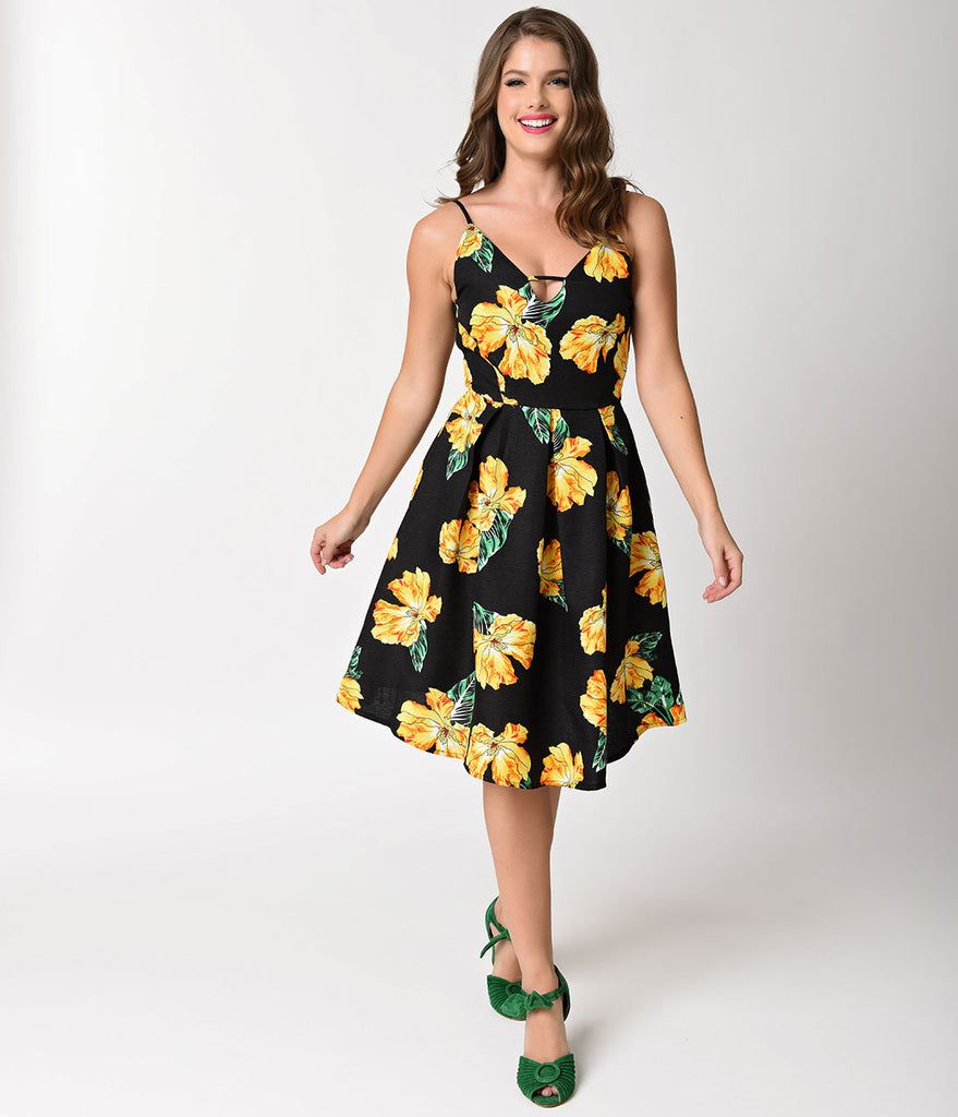 1950s Style Black & Yellow Floral Sleeveless Swing Dress