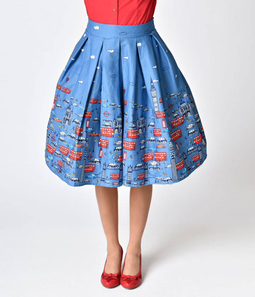 1950s Style Blue London Street High Waist Pleated Swing Skirt ...