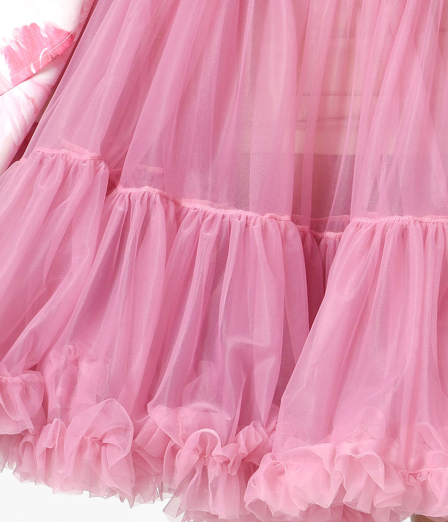 1950s Style Dusty Pink Tea Length Ruffled Chiffon Crinoline