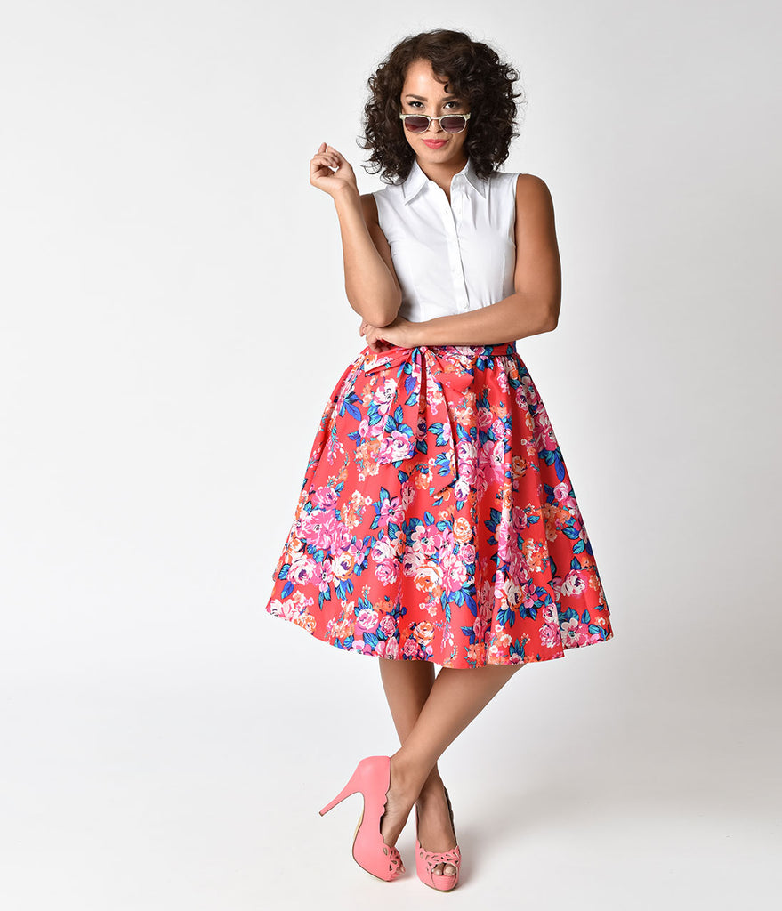 1950s Style Fuchsia & Floral High Waist Swing Skirt