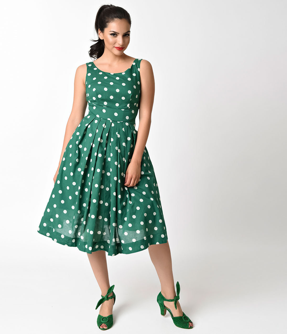 Vintage Polka Dot Dresses – 50s Spotty and Ditsy Prints 1950s Style Jungle Green  Ivory Dotted Isobel Cotton Swing Dress $94.00 AT vintagedancer.com