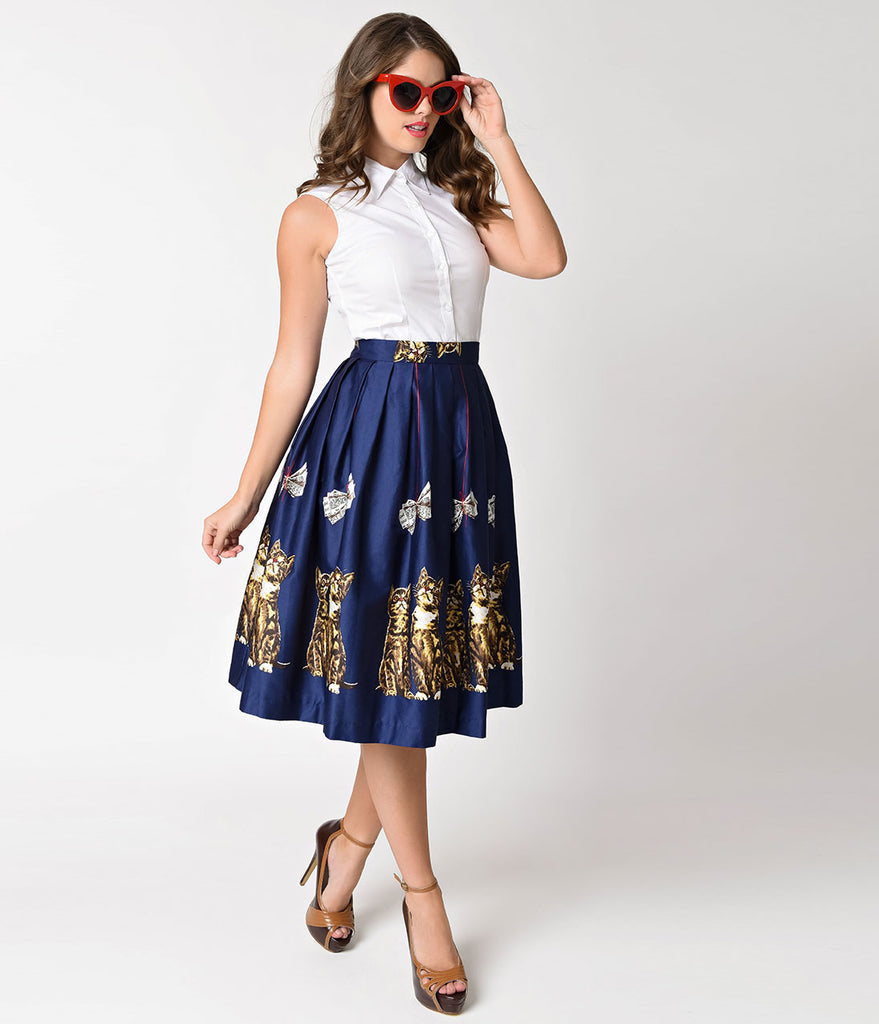 1950s Style Navy Blue Kitten Print High Waist Corinna Swing Skirt