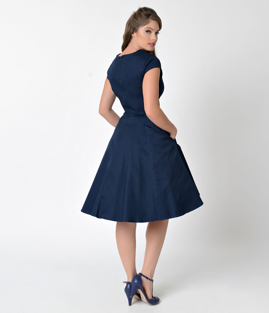 1950s Style Navy Blue Sweetheart Cap Sleeve Swing Dress