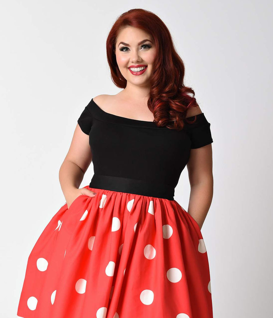 1950s Style Plus Size Black Off Shoulder Marilyn Top