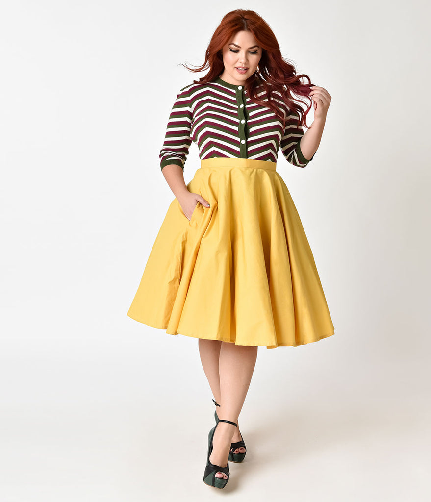 1950s style plus size mustard yellow cotton circle skirt unique