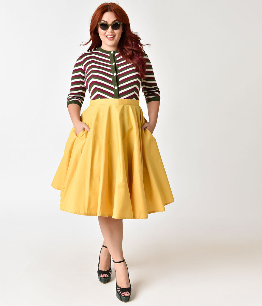 1950s Style Plus Size Mustard Yellow Cotton Circle Skirt