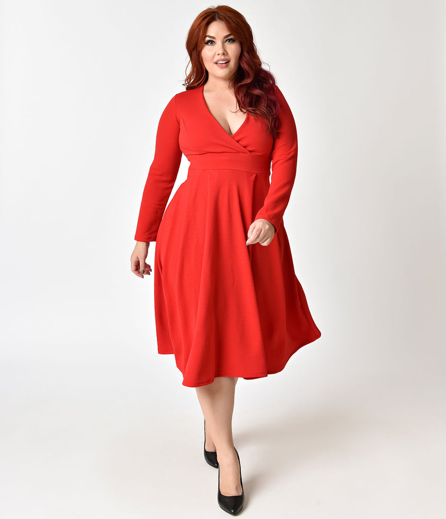 1950s Style Plus Size Red Long Sleeved Swing Dress Unique Vintage