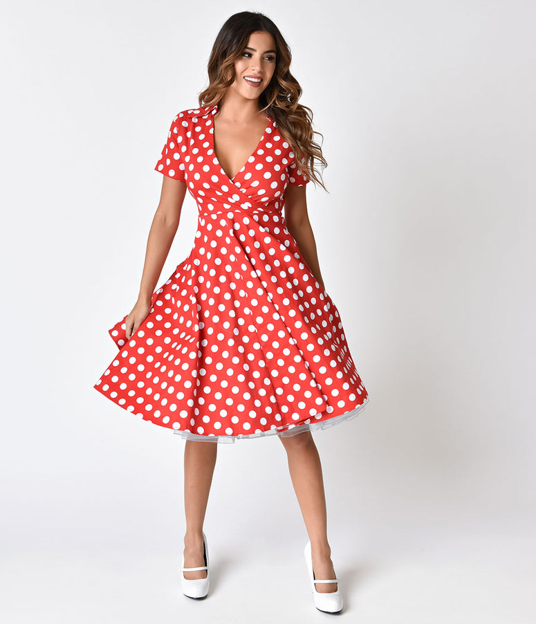 1950s Style Red & Ivory Polka Dot Short Sleeve Flare Dress