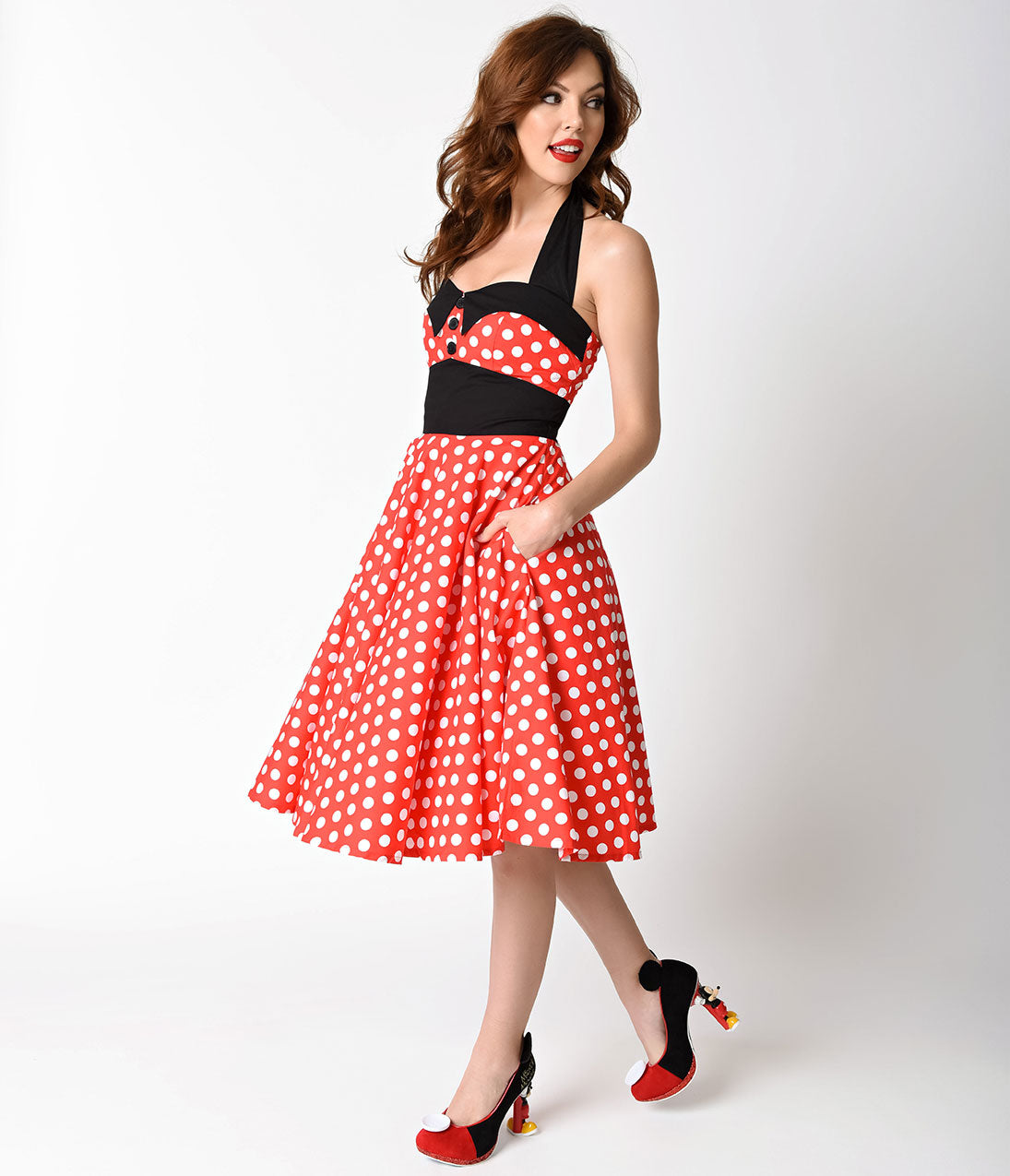 1950s 50s Costumes- Poodle Skirts, Grease, Monroe, Pin up, I Love Lucy 1950s Style Red  White Polka Dot Ashley Halter Swing Dress $68.00 AT vintagedancer.com