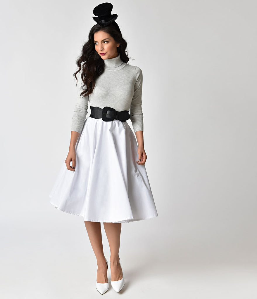 1950s Style White Cotton Circle Skirt