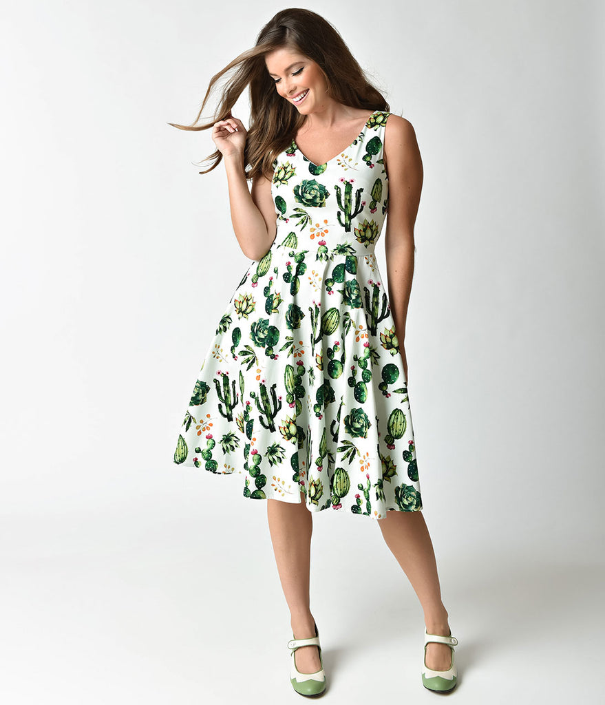 3b82558939 1950s Style White & Green Cactus Print Sleeveless Swing Dress – Unique  Vintage