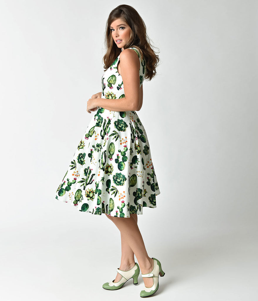 74626eac07 ... 1950s Style White & Green Cactus Print Sleeveless Swing Dress ...