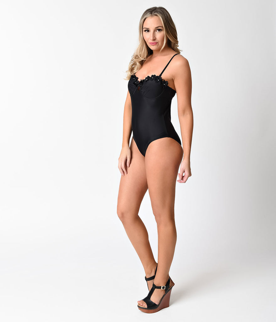 1960s Mod Style Black Floral Embellished Cutout One Piece Swimsuit