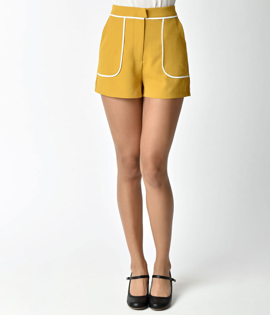 1960s Mod Style Mustard Yellow High Waisted Shorts
