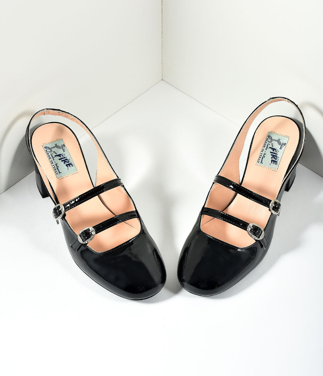 60s Shoes, Boots | 70s Shoes, Platforms, Boots Miss L Fire 1960s Style Black Patent Leather Mary Jane Open Dolly Heels Shoes $195.00 AT vintagedancer.com