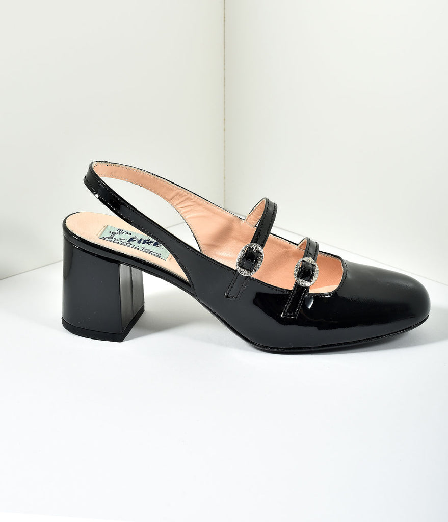 Miss L Fire 1960s Style Black Patent Leather Mary Jane Open Dolly Heels