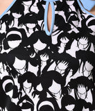 1960s Style Black & White Hairstyles Print Neck Tie Shift Dress