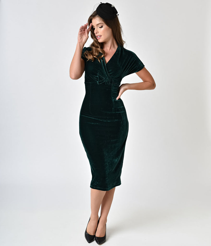 1960s Style Emerald Green Velvet Adore You Wiggle Dress