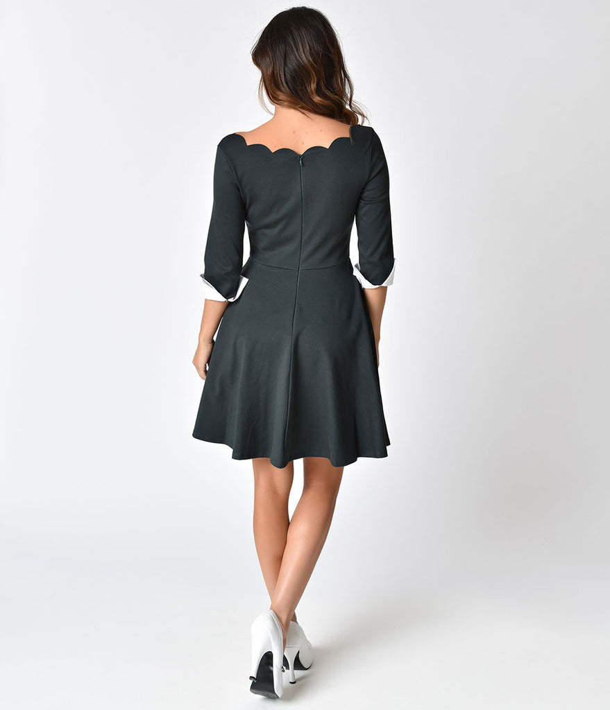 Green Fit And Flare Dress With Flat Shoes