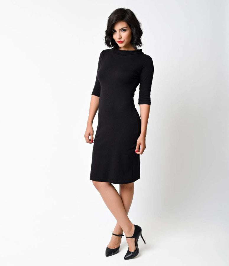 1960s Style Mod Super Spy Black Dress