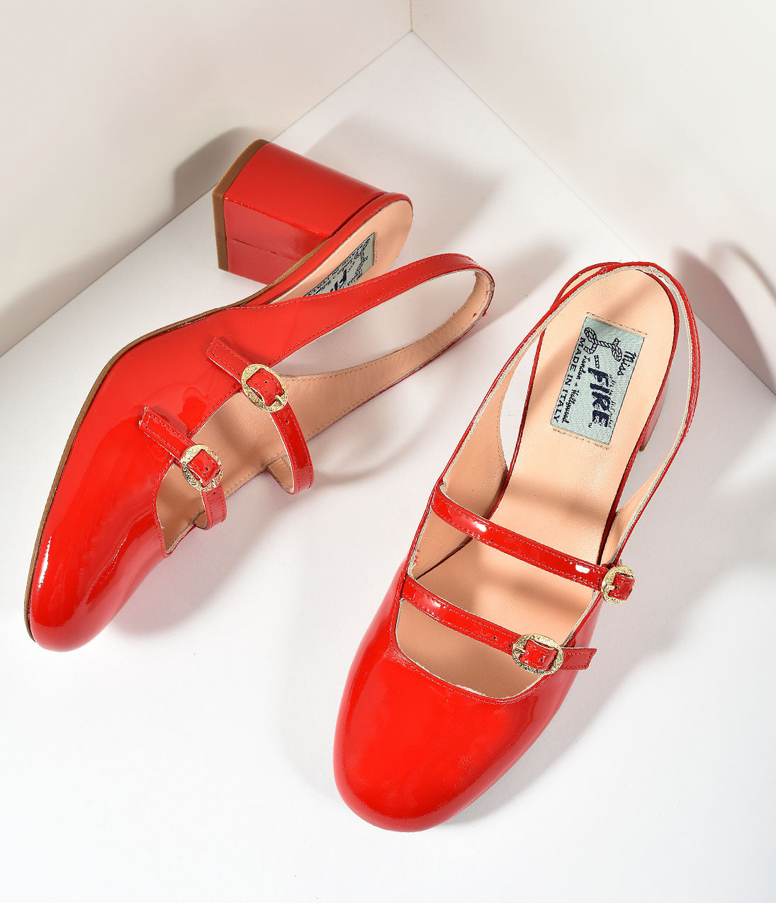 60s Shoes, Boots | 70s Shoes, Platforms, Boots Miss L Fire 1960s Style Red Patent Leather Mary Jane Open Dolly Heels Shoes $195.00 AT vintagedancer.com