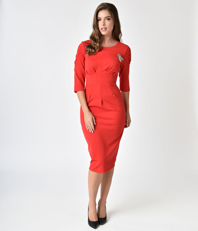1960s Style Red Super Fly Sleeved Wiggle Dress
