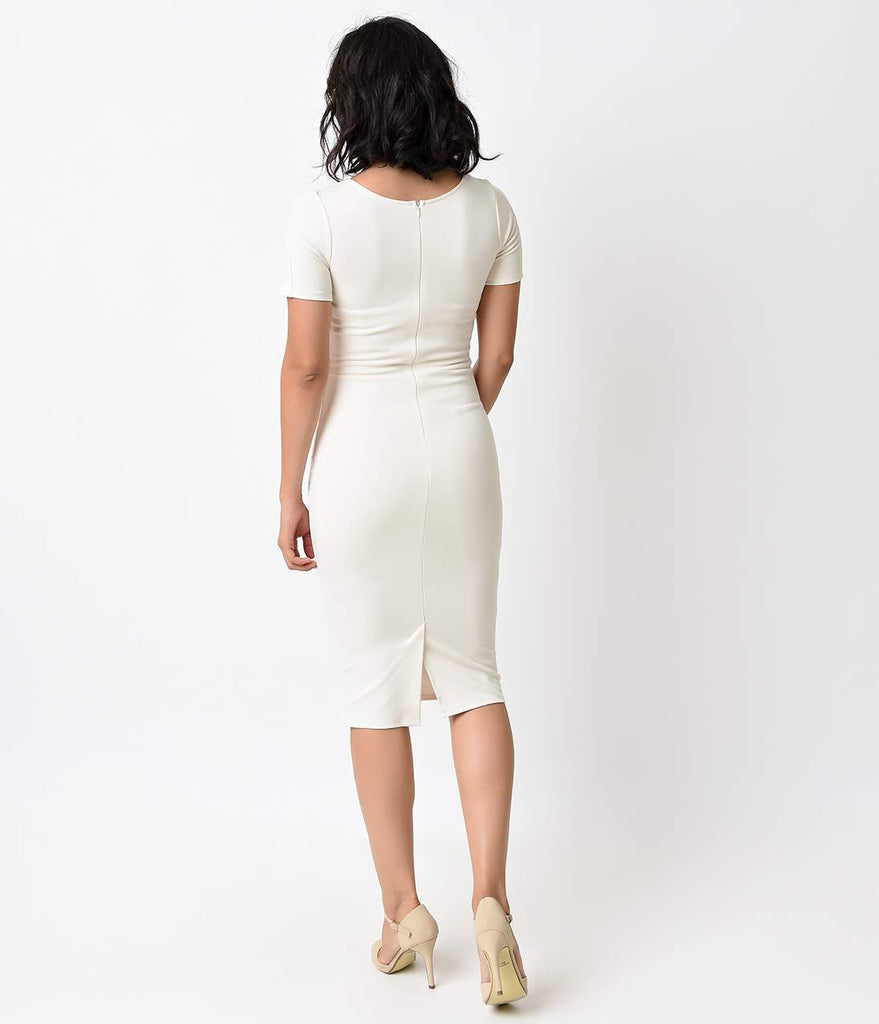 1960s Style Ivory Short Sleeve Stretch Mod Wiggle Dress