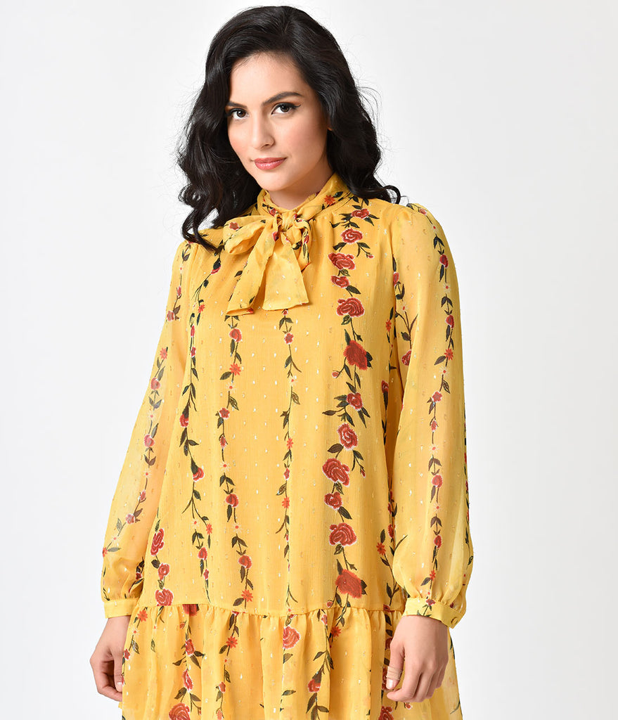 1960s Style Yellow & Floral Print Long Sleeve Chiffon Dress