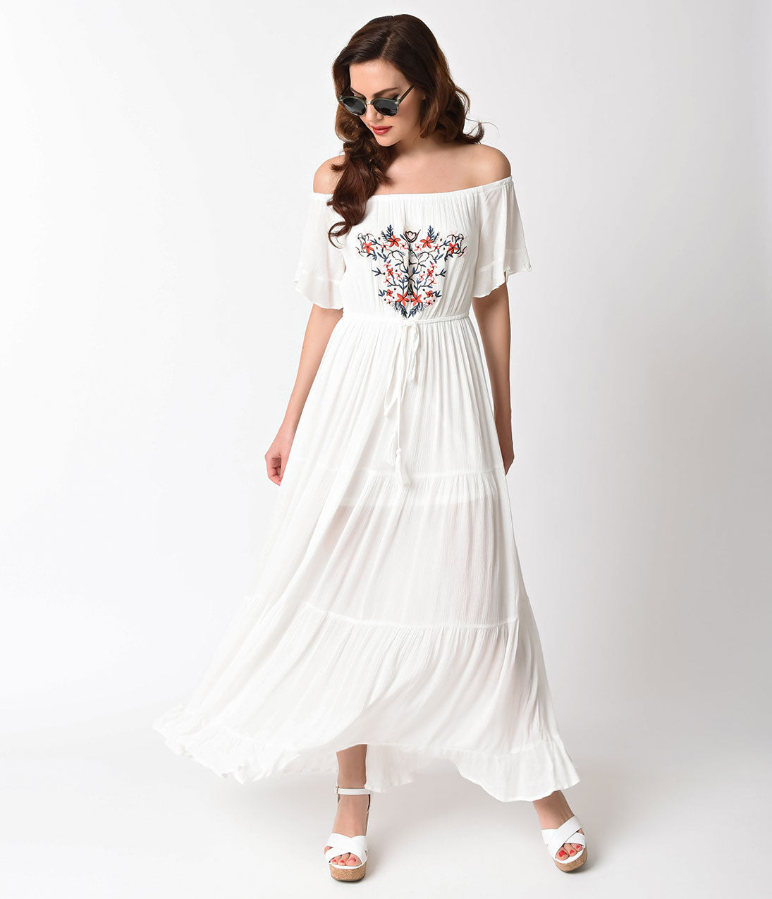 1960s Dresses: New 60s Style Dresses – Jackie O to Mod 1970s Style White  Multi Color Embroidered Off Shoulder Maxi Dress $47.00 AT vintagedancer.com
