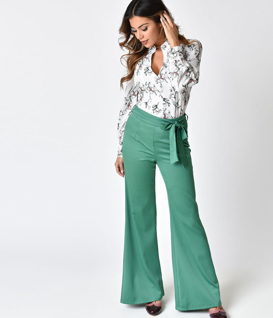 1970s Style Green Bell Bottom Pants – Unique Vintage