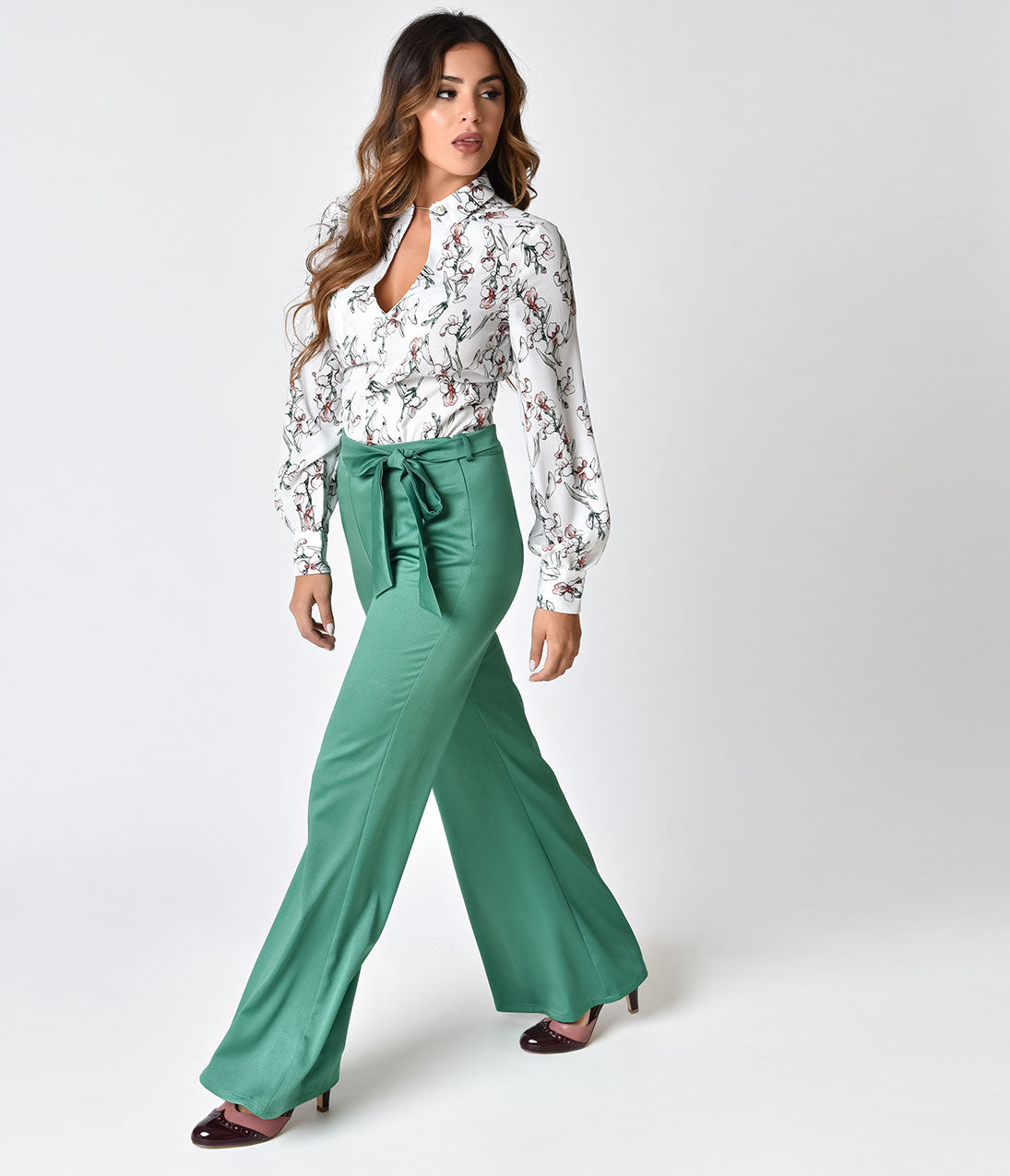 Vintage High Waisted Trousers, Sailor Pants, Jeans 1970s Style Green Bell Bottom Pants $31.00 AT vintagedancer.com