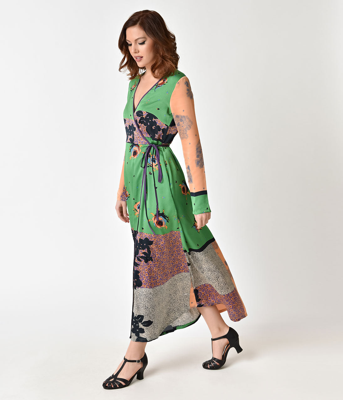 1960s Dresses: New 60s Style Dresses – Jackie O to Mod 1970s Style Green  Multi Colored Floral Maxi Wrap Dress $63.00 AT vintagedancer.com