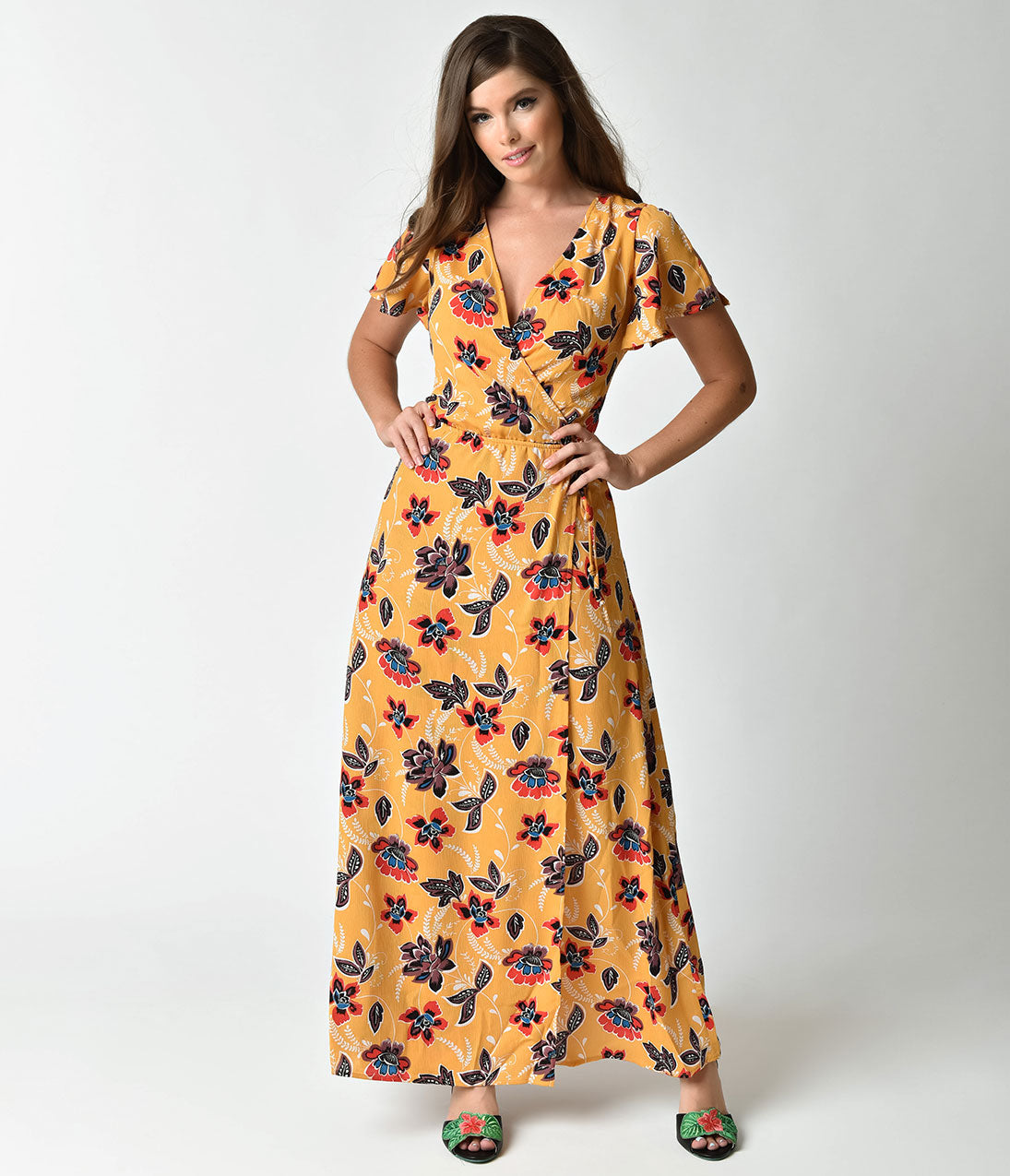 1960s Dresses: New 60s Style Dresses – Jackie O to Mod 1970s Style Mustard Yellow  Floral Short Sleeve Maxi Dress $42.00 AT vintagedancer.com