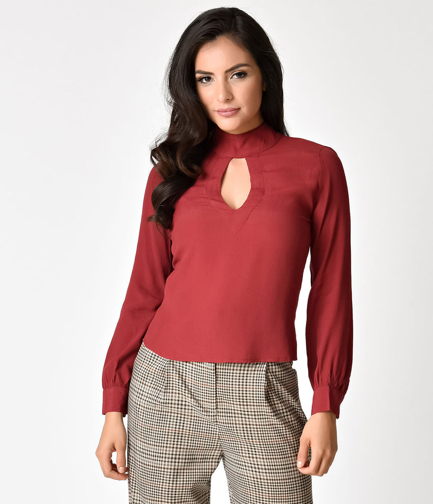 1970s Style Red Wine Long Sleeve Keyhole Cutout Blouse