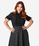Unique Vintage Plus Size Black Chiffon Button Up Short Sleeve Colvin Blouse