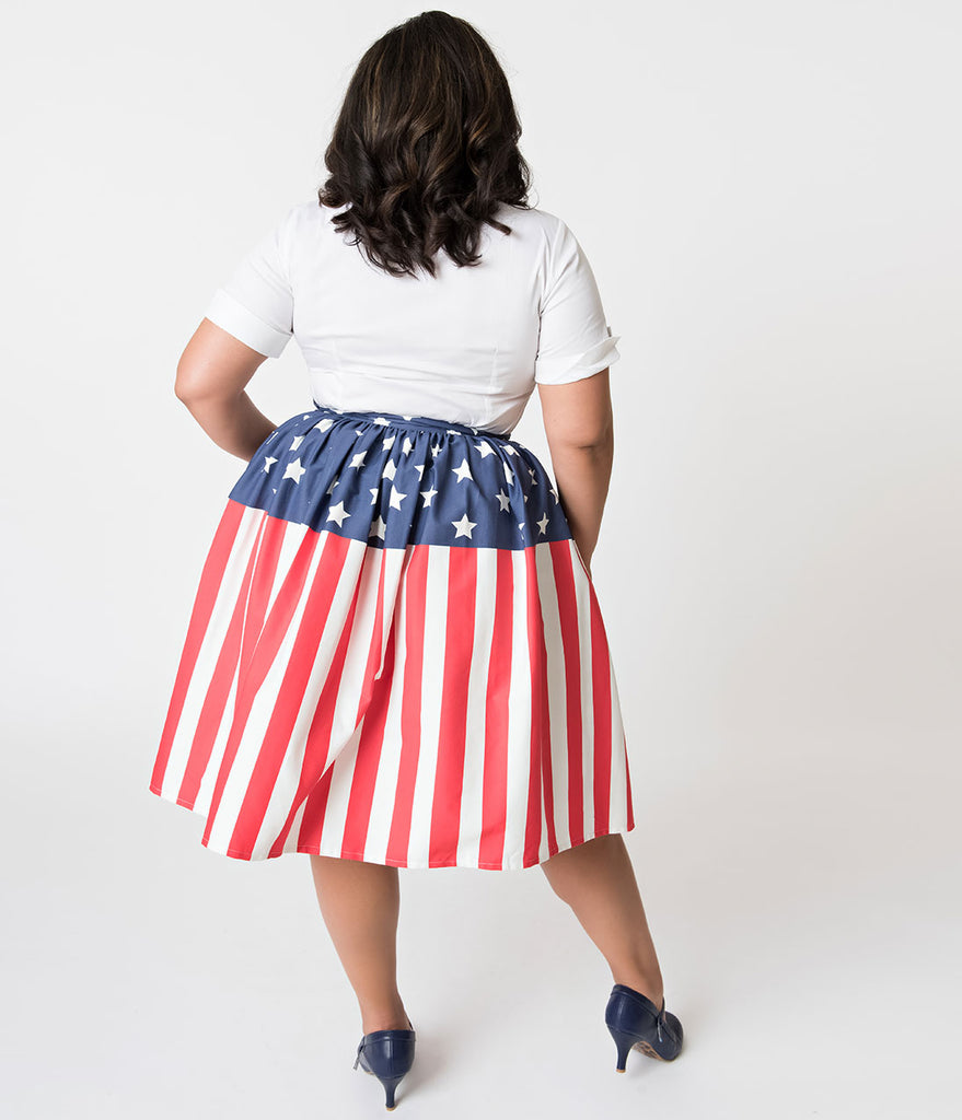 Unique Vintage Plus Size 1950s Style American Flag High Waist Swing Skirt